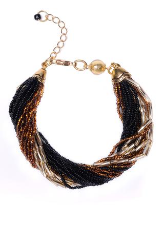 Бисерный браслет, 24 нити, золотисто-черный