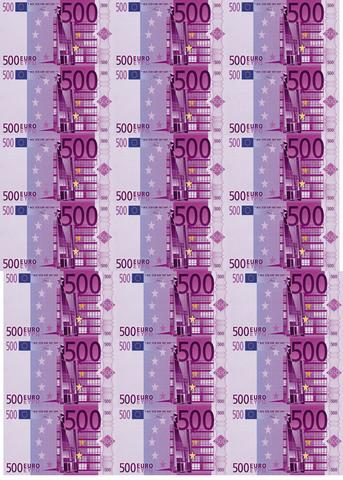 Вафельная бумага, Набор Купюра 500 Евро 3