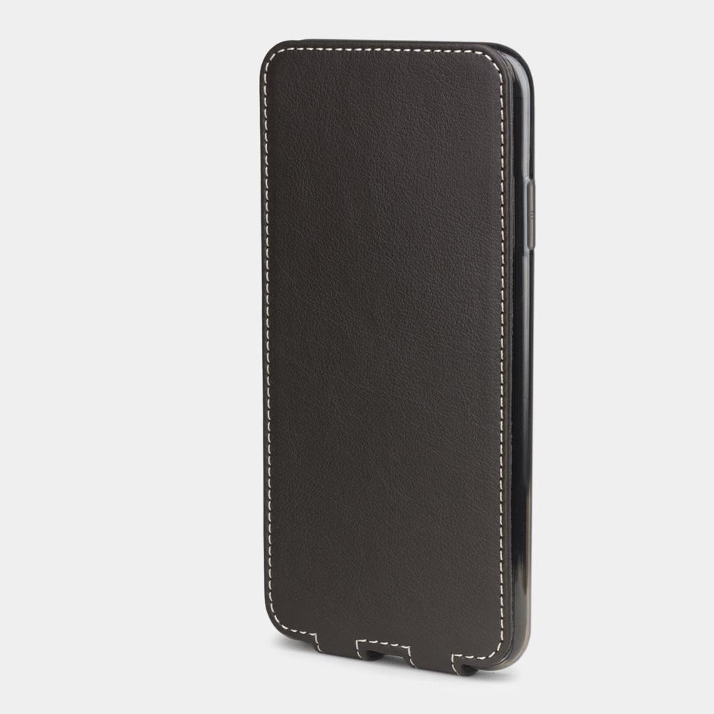 Чехол для iPhone XS Max из натуральной кожи теленка, темно-коричневого цвета