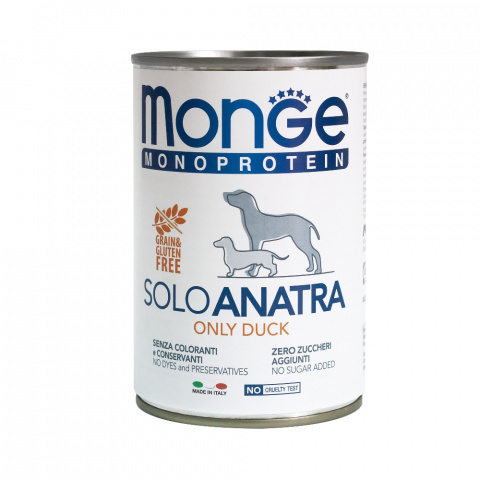 Monge Dog Monoprotein Solo консервы для собак паштет из утки 400 г