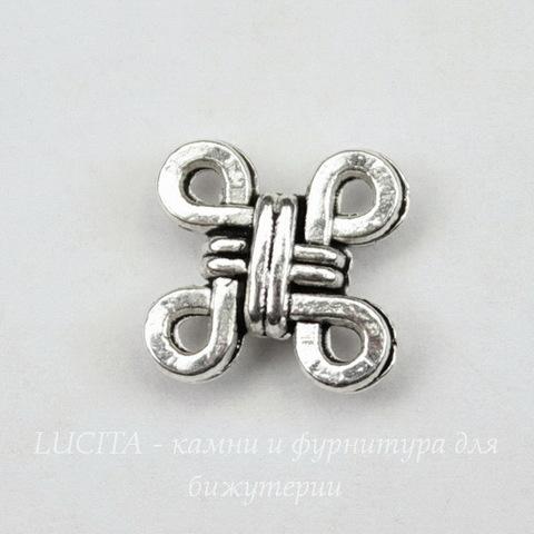"""Коннектор """"Китайский узел"""" (2-2) 10х10 мм (цвет - античное серебро)"""
