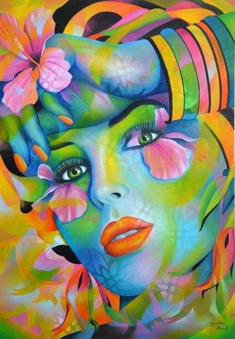 Алмазная Мозаика 5D 40x50 Девушка в красочных переливах (арт.LT0037)
