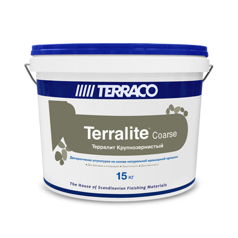 Terraco Terralite Coarse/Террако Терралит Корс крупнозернистое финишное штукатурное акриловое покрытие наполненное натуральной мраморной крошкой природных оттенков