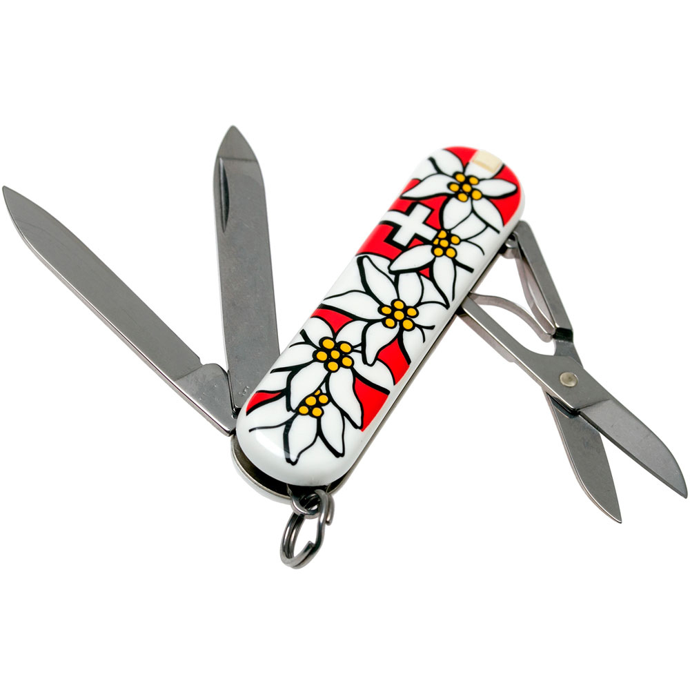 Нож-брелок Victorinox Classic Edelweiss (0.6203.840) 7 функций, 58 мм. в сложенном виде | Wenger-Victorinox.Ru