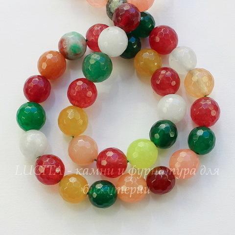 """Бусина Жадеит (тониров), шарик с огранкой, """"Разноцветный микс"""", 10 мм, нить"""