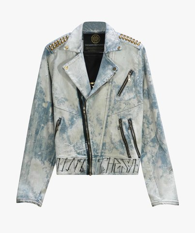 Куртка джинсовая The Saints Sinphony GRIM REAPER BIKER JACKET LITE BLUE