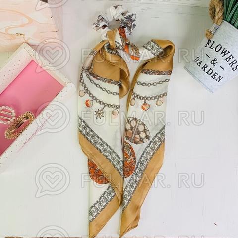 Платок с резинкой модный аксессуар для волос (цвет: белый, коричневый)