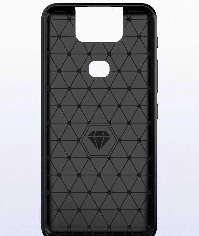Чехол Asus ZenFone 6 (ZenFone 6Z) цвет Black (черный), серия Carbon, Caseport