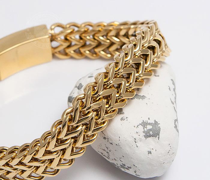 BM477 Массивный мужской браслет золотого цвета (21 см) фото 06