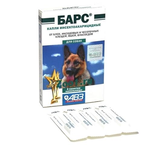 Барс капли от клещей и блох для собак 1 уп - 4 пипетки