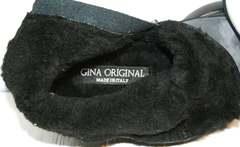 Итальянские полусапожки женские зимние Jina 7195 Leather Black-Gray.
