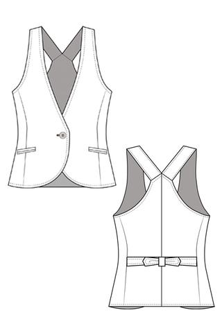 Выкройка жилета с V-образным вырезом для девочки