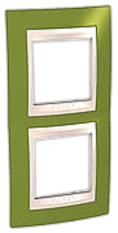 Рамка на 2 поста. Цвет вертикальная Фисташковый/Белый. Schneider electric Unica Хамелеон. MGU6.004V.866