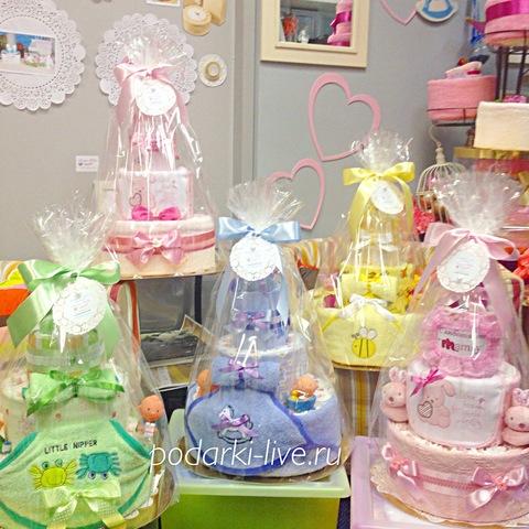 Коллекция наших работ тортов из подгузников для девочек