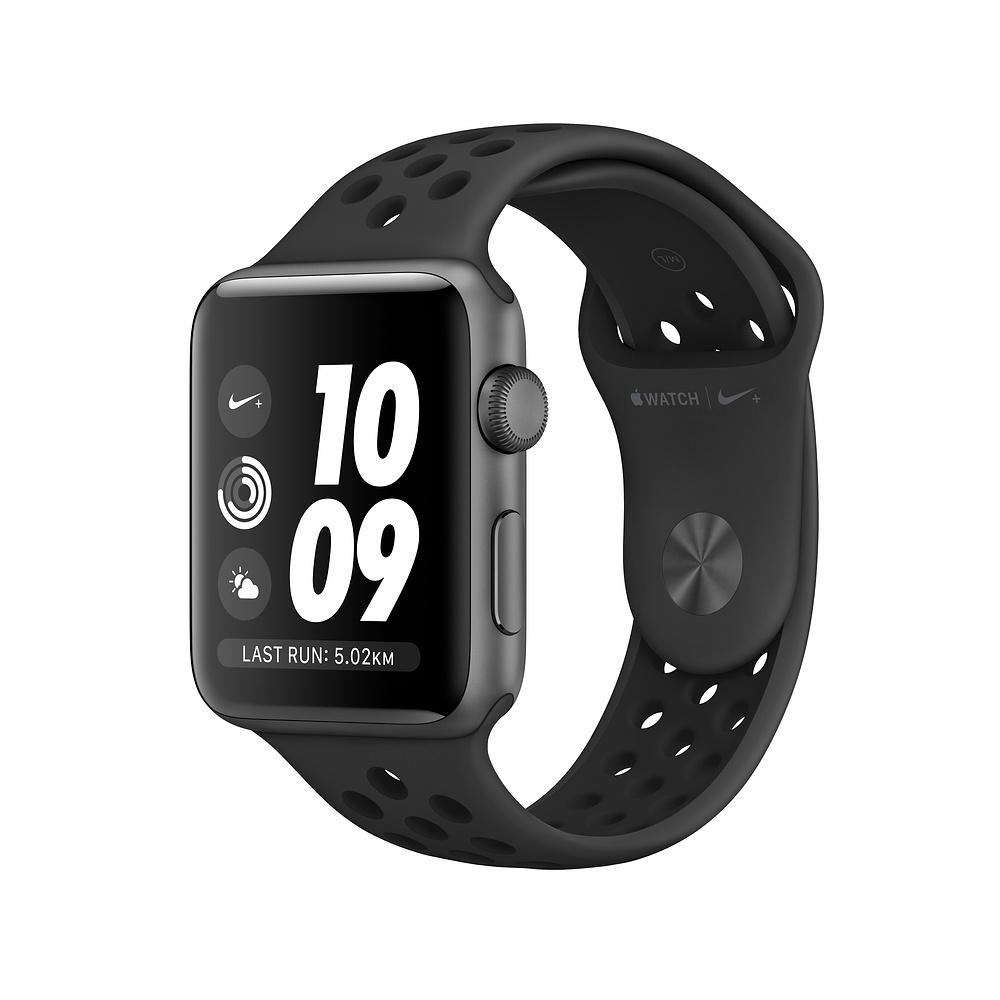 Apple Watch Nike+ GPS, корпус 42 мм, алюминий цвета «серый космос», спортивный ремешок Nike цвета «антрацитовый/чёрный»