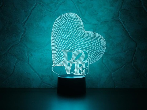 3D ночник Сердце LOVE