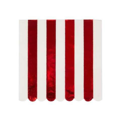 Салфетки красные блестящие полоски, мал.
