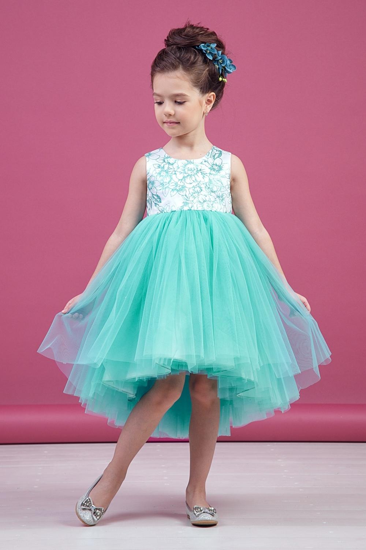 Платье мятное для девочки 38-9010-4