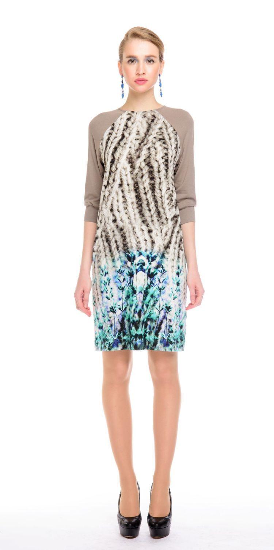 Платье З135-422 - Трикотажное платье прямого силуэта с рукавом реглан 3/4 на манжете. Основная ткань с принтом имитирующим крупную вязку, рукава из однотонной ткани-компаньона. Платье невероятно комфортное и уютное платье на каждый день.