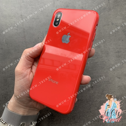 Чехол iPhone X/XS Glass Full color Case Logo /red/