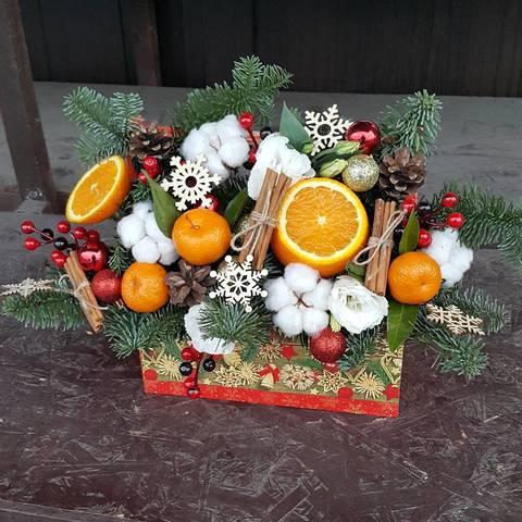 Ящик с цветами Новый Год 2