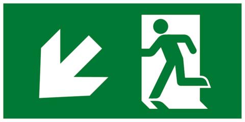 Современный комбинированный эвакуационный знак Е33 – Направление к эвакуационному выходу налево вниз