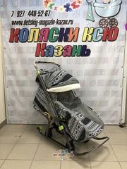 Санки коляска GALAXY KIDS 1-1 «скандинавия - финляндия чёрная»