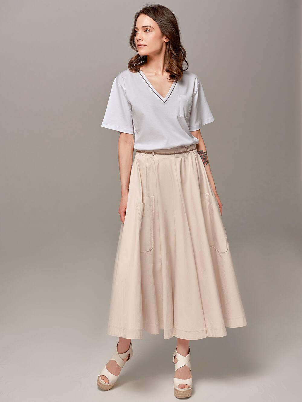 Женская юбка песочного цвета Eleventy - фото 1