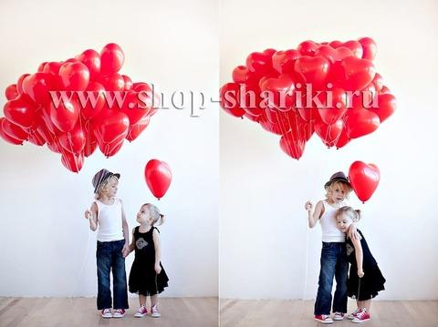 Шарики в виде сердца: красные