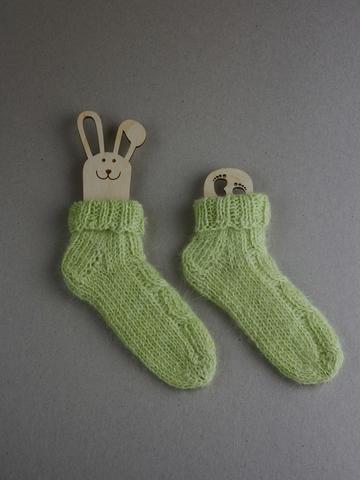 Носочки для новорожденных из пуха кролика, р. 3-6 м, ц. зеленая солома