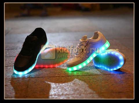 Светящиеся кроссовки с USB зарядкой Fashion (Фэшн) на шнурках, цвет белый, светится вся подошва. Изображение 28 из 29.