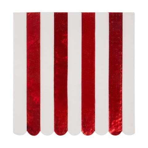 Салфетки красные блестящие полоски, бол.