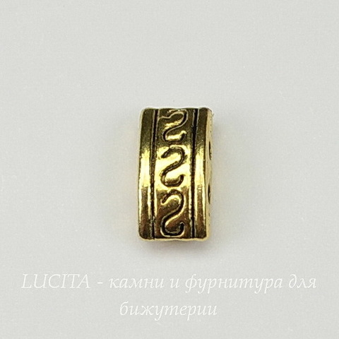 Разделитель на 2 нити 10х5х4 мм (цвет - античное золото)