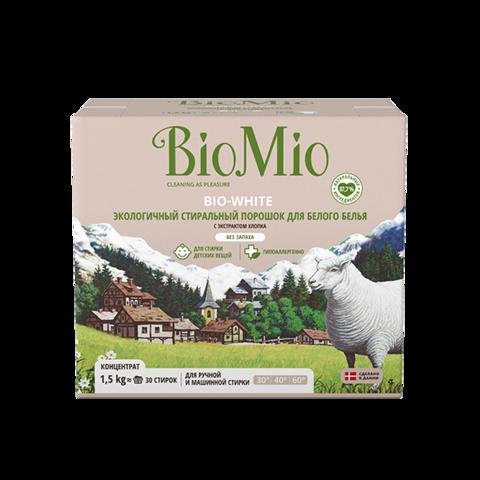 BIO MIO эко-стиральный порошок для белого белья с экстрактом хлопка, без запаха 1,5кг