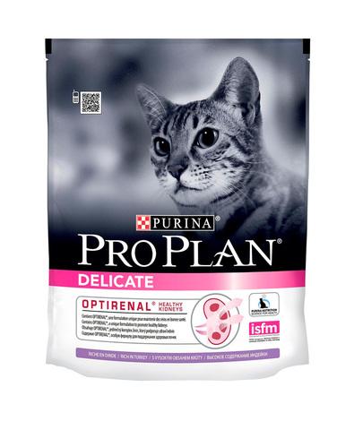 Pro Plan сухой корм для кошек с чувствительным пищеварением (индейка) здоровые почки 400 г