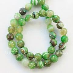 Бусина Агат, шарик с огранкой (тониров.), цвет - светло-зеленый с белыми полосками, 8 мм, нить