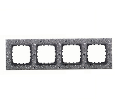 Рамка на 4 поста из декоративного камня. Цвет Cерый гранит. LK Studio LK60 / LK80 (ЛК Студио ЛК60 / ЛК80). 864479