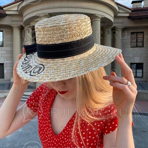 Классическая соломенная женская шляпа с чёрной лентой и надписью Dream@