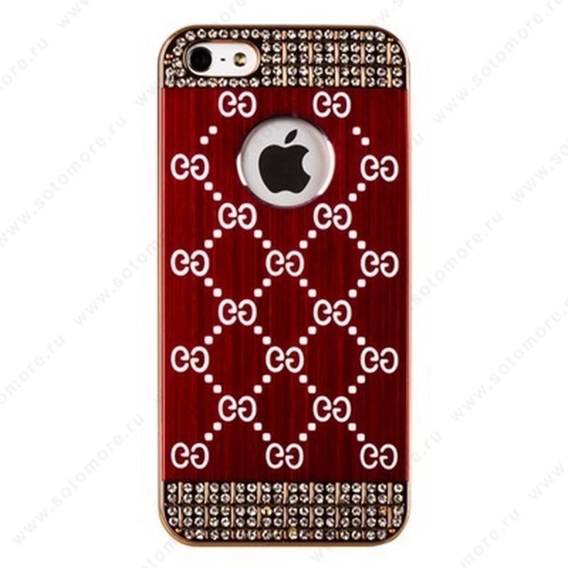 Накладка GUCCI металлическая для iPhone SE/ 5s/ 5C/ 5 золото бордовая