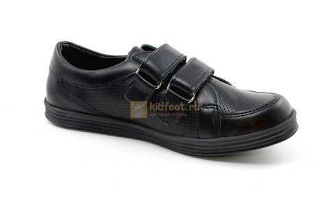 Ботинки на липучках для мальчиков Лель (LEL) из натуральной кожи цвет черный. Изображение 2 из 17.