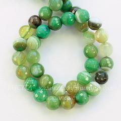 Бусина Агат (тониров), шарик с огранкой, цвет - светло-зеленый, 8 мм, нить