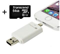 Флешка для Iphone/Ipad на 64 Gb со сменной микро SD