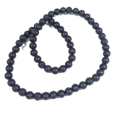 Бусины лава матовая шар 6 мм черная
