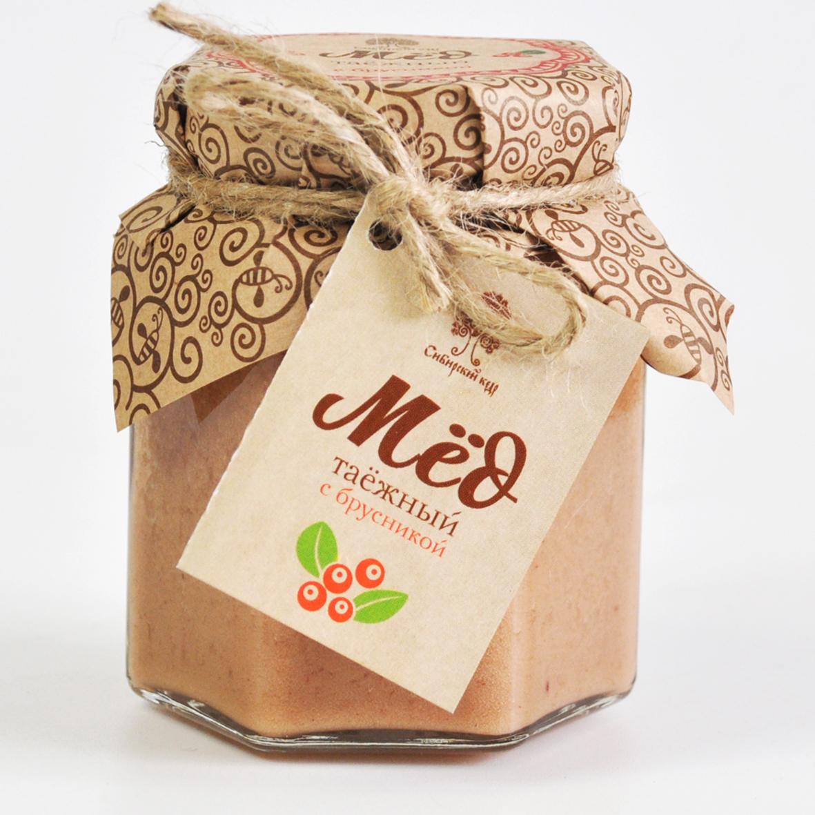 Мёд Таёжный с соком брусники  Сибирский кедр 220 гр