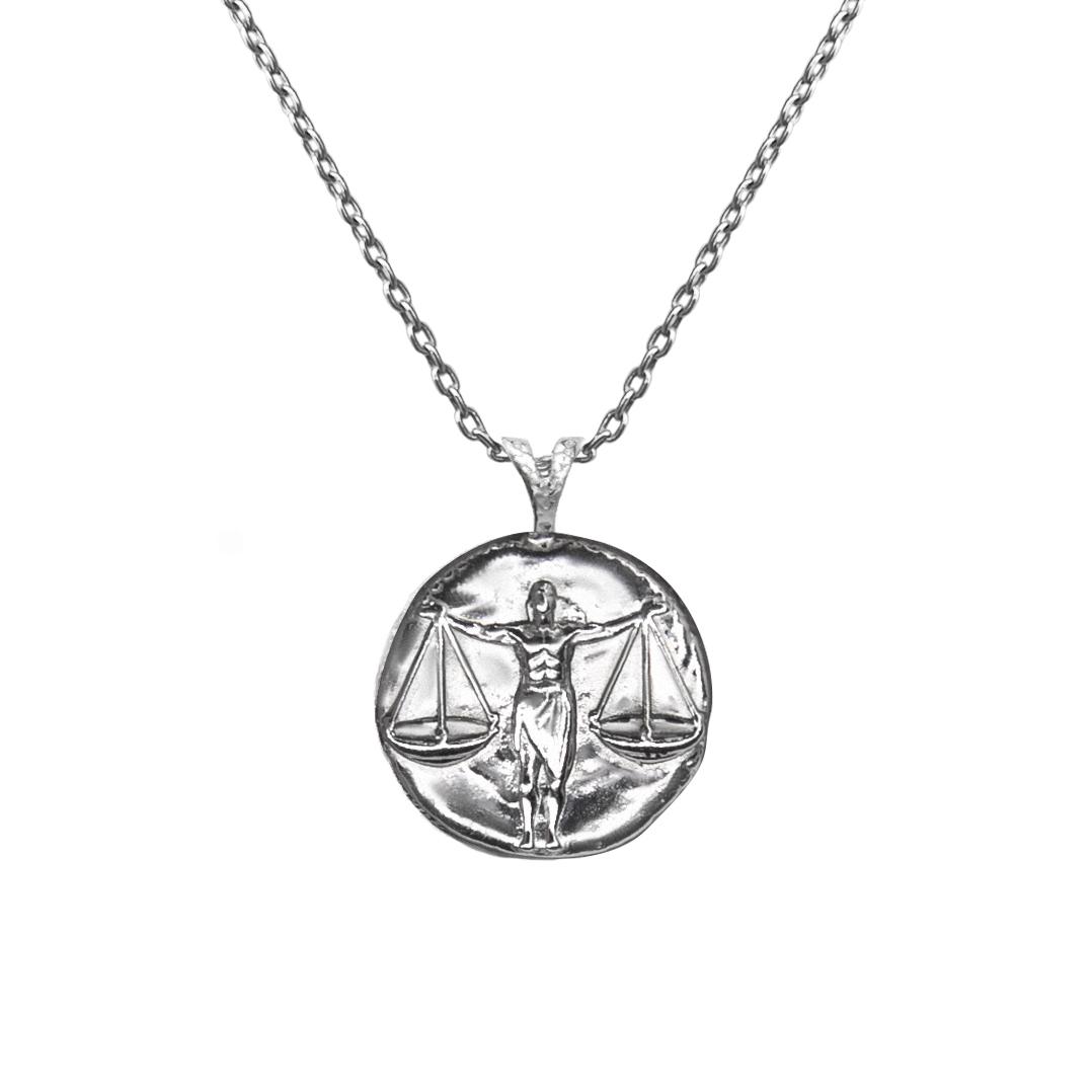 Pendant, Zodiac sign Libra  on a chain, sterling  silver