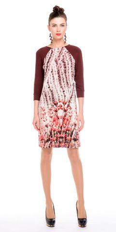 Фото осеннее платье с контрастными рукавами и цветочным принтом - Платье З135-427 (1)