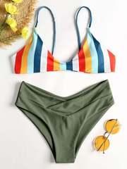 купальник зеленый радуга с завышенной талией раздельный Green Rainbow 1