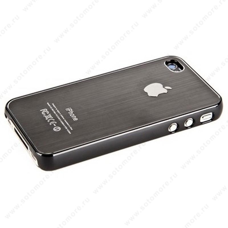 Накладка SGP металлическая для iPhone 4s/ 4 серебряная с черной окантовкой