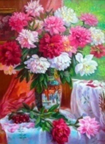 Картина раскраска по номерам 30x40 Букет в розовых тонах (арт. KTL2113)