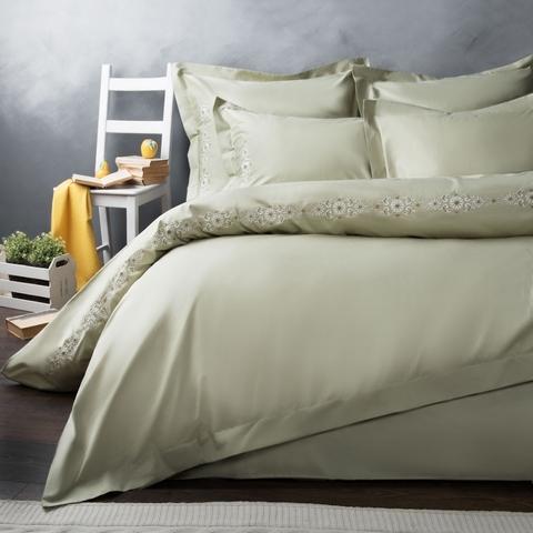 Комплект постельного белья сатин Алиум оливковый